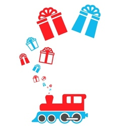 Isolated holiday train vector