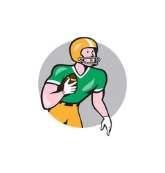 American football player rusher circle retro vector