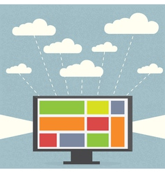 Monitor with clouds on blue background vector