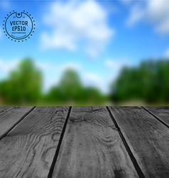 Wooden table on blur background nature summer vector