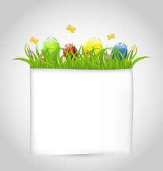 Easter colorful eggs in green grass with empty vector