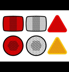 Safety reflectors red white orange vector