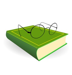 Spectacles and green book on a white background vector