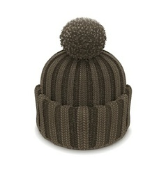 Winter knitted bubble hat vector