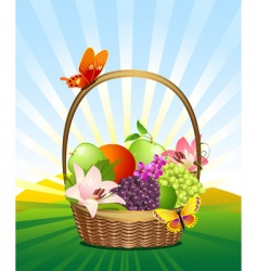 Fruit basket on the lawn vector