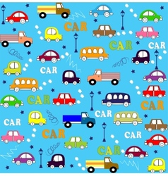 Seamless pattern trucks buses and cars vector
