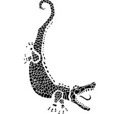 Woodcut alligator vector