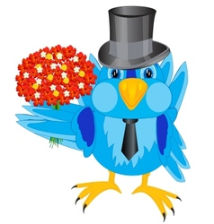 Bird sparrow with bouquet flower vector