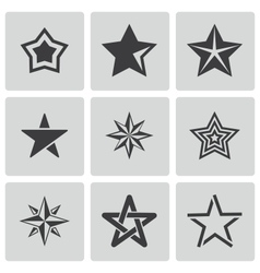 Black stars icons set vector