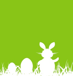 Cartoon green background with easter rabbit and vector