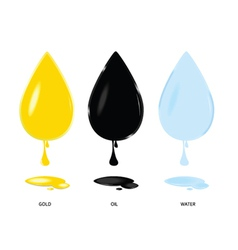 Gold oil and water drop color vector