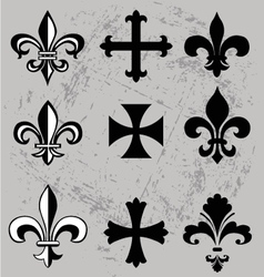 Fleur de lis and crosses vector