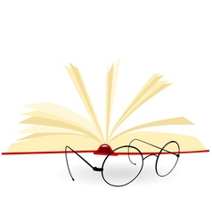 Opened book and spectacles on a white background vector