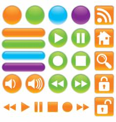 Audio and video buttons vector