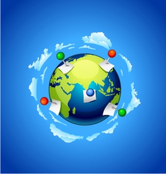 Planet earth with a note paper and pins vector