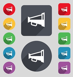 Megaphone soon loudspeaker icon sign a set of 12 vector