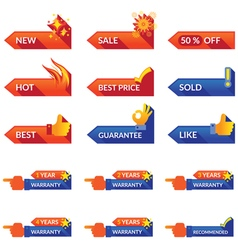 Arrow label for promotion and guarantee vector