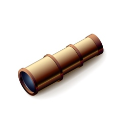 Vintage spyglass closeup isolated on white vector