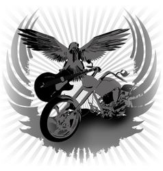 Rock n roll background and chopper vector