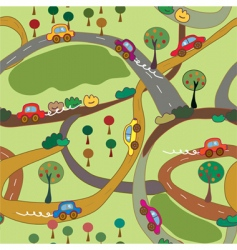 Cartoon seamless pattern with cars vector