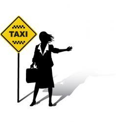 Woman wait taxi vector