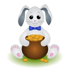 Cartoon rabbit with pot of gold coins vector