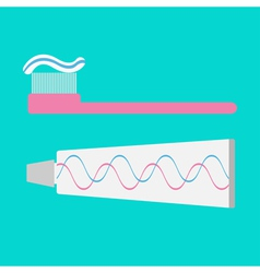 Toothbrush and toothpaste tube flat design style vector