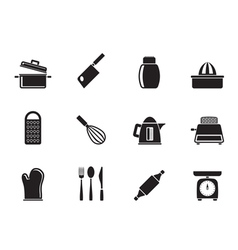 Silhouette kitchen and household utensil icons vector