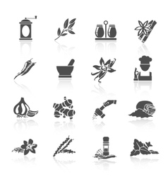 Spices icons black vector