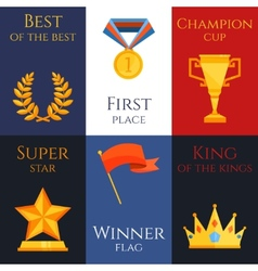 Award mini poster set vector