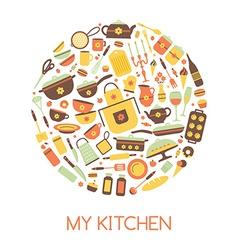 Set of kitchen utensils and food vector
