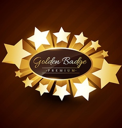 Premium golden badge design with stars vector