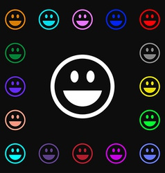 Funny face icon sign lots of colorful symbols for vector