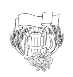 A barrel mug wheat hops vector