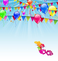 Carnival background with flags confetti balloons vector