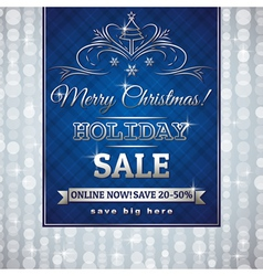 Blue christmas background and label with sale offe vector