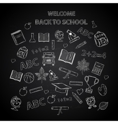 Back to school chalkboard sketch vector