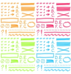 Four color set hand drawing elements for select vector