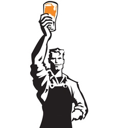 Man drinking beer sign vector
