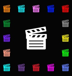 Cinema clapper icon sign lots of colorful symbols vector
