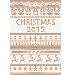 Knitted pattern christmas 2015 vector