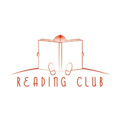 Child sitting and read book reading club logo vector