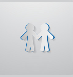 People holding hands cut from paper vector