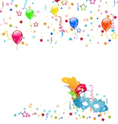 Carnival background with mask confetti balloons vector