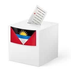 Ballot box with voting paper antigua and barbuda vector