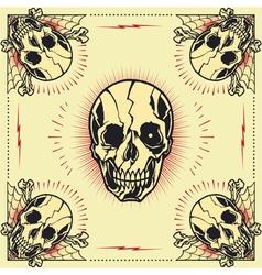 Skull bone cross frame vector
