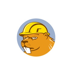Beaver construction worker circle cartoon vector