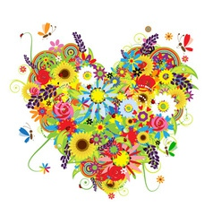 Summer floral heart for your design vector