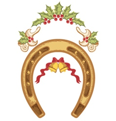 Christmas horseshoe with holly berry leaves vector