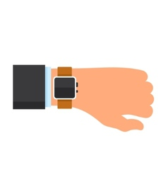 Arm with a smartwatch in flat design style vector